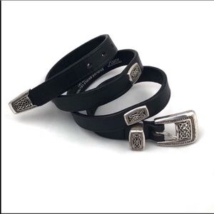 TORY Black leather and silver belt.